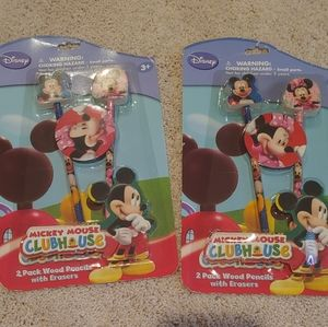 Mickey Mouse Club house pencils and erasers set